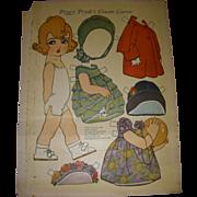 "1926 Vintage Paper Doll Sheet ""Peggy Pryde's Cousin Carrie"" Uncut!"