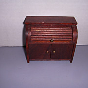 """Vintage German Dollhouse """"Red Stain"""" Roll Top Desk!"""