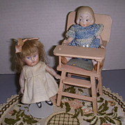 Vintage Miniature Pink Wooden Doll High Chair!