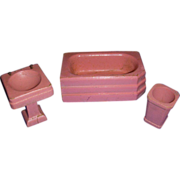 Vintage 1930s Strombecker Pink Wooden 3-Piece Bath Room Set!