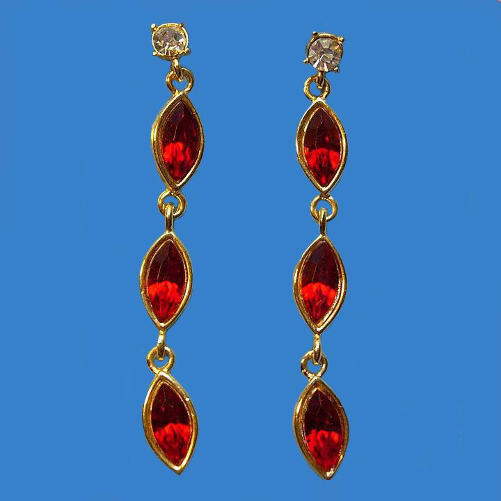 Swanky Dangling Red Rhinestone Earrings