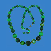 Shades of Green Iridescent Bead Necklace