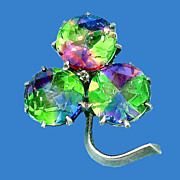 Victorian Rose Cut Iris Stones Three Leaf Clover Pin