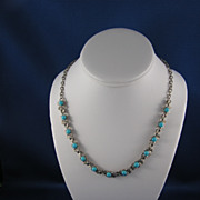 Darling Silvertone and Turquoise Glass Bead Necklace