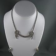 Fabulous Garne Rhinestone Necklace and Earrings Demi