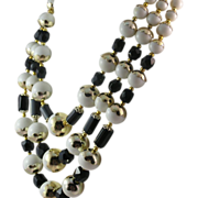 Classic and Timeless Black and White Glass Bead Triple Strand Necklace