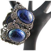 Large and Showy Blue Thermoset Cabochon Chunky Bracelet