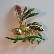 Vintage Made in Spain Damascene Grasshopper Brooch or Pin