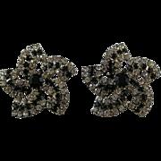 Vintage Black and Clear Rhinestone Pinwheel Earrings - Fabulous