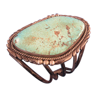 Old Sterling Silver & Turquoise Native Bracelet Signed E. King Beautiful Huge