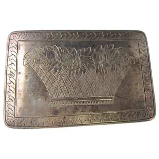 Federal Silver Snuff Box Basket of Flowers Design Hallmarked Large
