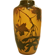 D'Argental Cameo Glass Vase with Maple Leaf Motif