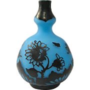 Frosty Blue DeVez Cameo Glass Vase with Sunflower Decoration