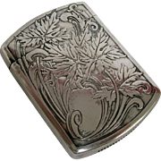R. Blackinton Sterling Silver Match Safe with Foliate Details