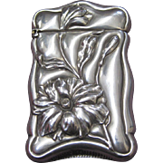 Sterling Silver Art Nouveau Match Safe with Freesia Decoration