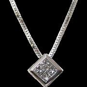 14 K White Gold and Diamond Square-Shaped Pendant