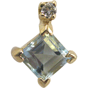 14K Aquamarine and Diamond Earring