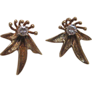 14 K Yellow Gold Floral Diamond Earrings, circa 1940s-50s