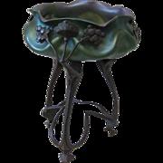 Loetz Glass Centerpiece with Bronze Tripod Base