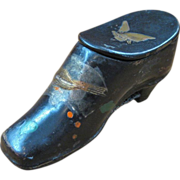 Victorian Paper Mache Shoe Shaped Snuff Box