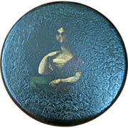 Paper Mache Round Portrait Snuff Box of a Woman