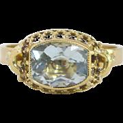 14 K Yellow Gold and Aquamarine Ring