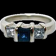 Elegant 14K White Gold, Sapphire and Diamond Three Stone Ring