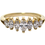 Seven Diamond Marquise Cut 14 K Gold Ring