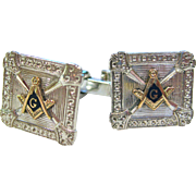 Sterling Silver with 14K Gold and Enamel Masonic Cufflinks