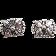 Vintage Georg Jensen Sterling Silver Flower earrings