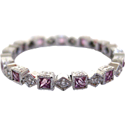 18Kt White Gold Diamond and Pink Sapphire Ring
