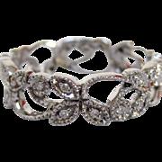 18 Karat White Gold and Diamond Ring with Nature Design