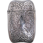R. Wallace & Sons Sterling Silver and Gilt Match Safe with Thorny Rose Bush Decoration, circa