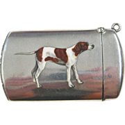 Enameled Dog on a Sterling Silver Match Safe by Carter & Howe, circa 1900