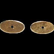 14K Gold Oval Florentine & Florentine Sapphire Cufflinks