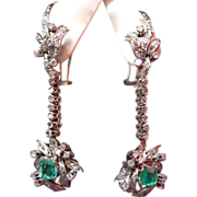 Stunning 18K White Gold, Diamond, and Emerald Dangle Earrings, circa 1940s