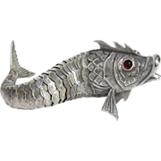 Rare Silver Articulated Fish, Art Deco Era from Spain