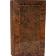19th Century Burl Wood & Parquetry Faux Book