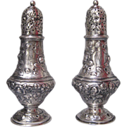 SALE PENDING Pair of Tiffany Sterling Silver Repousse Muffineers/Sugar Casters/Salt and Pepper