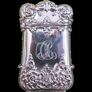 Scrolling Foliate Sterling Silver Match Safe or Vesta, circa 1880.