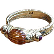 14 K Gold, Topaz, and Ruby Ring, circa 1980s
