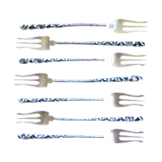Set of 7 Whiting  Reverse Twist # 8 Pattern Sterling Silver Seafood or Cocktail Forks, circa 1