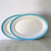 "2 Jackson China Oval Serving  Patters 12 1/2""  1966"