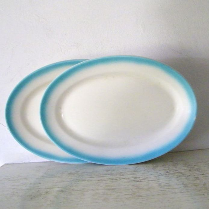 """2 Jackson China Oval Serving  Patters 12 1/2""""  1966"""