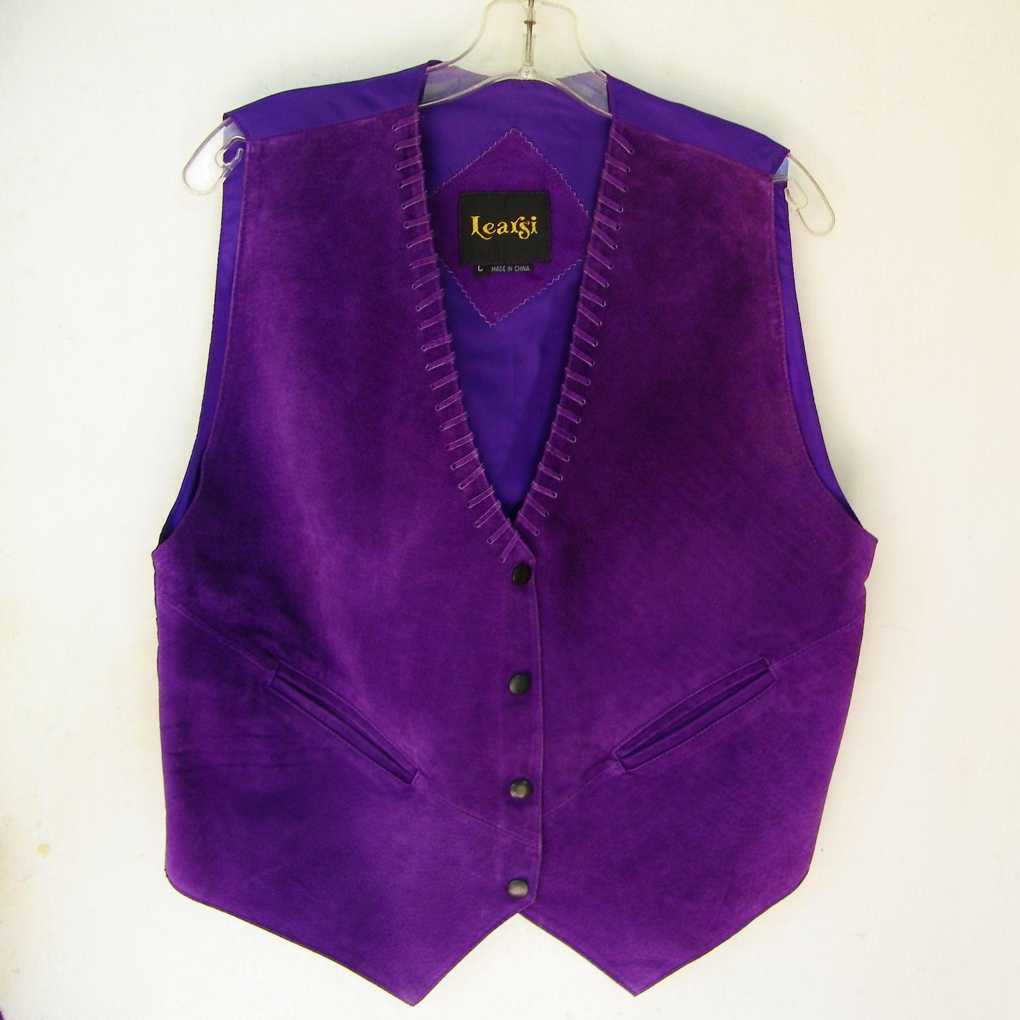 Vintage Purple Leather Suede Vest Mint Ladies size Large