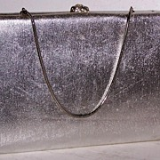 After Five Silver Lame` Clutch & Coin Purse 24 Rhinestone Clasp