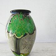 Signed Art Glass Vase Tree Motif by Bendzunas
