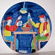 """14 1/2"""" Signed Italian Art Pottery Platter VINO & FRIENDS!"""