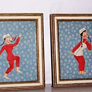 2 Framed Paper & Fabric Art
