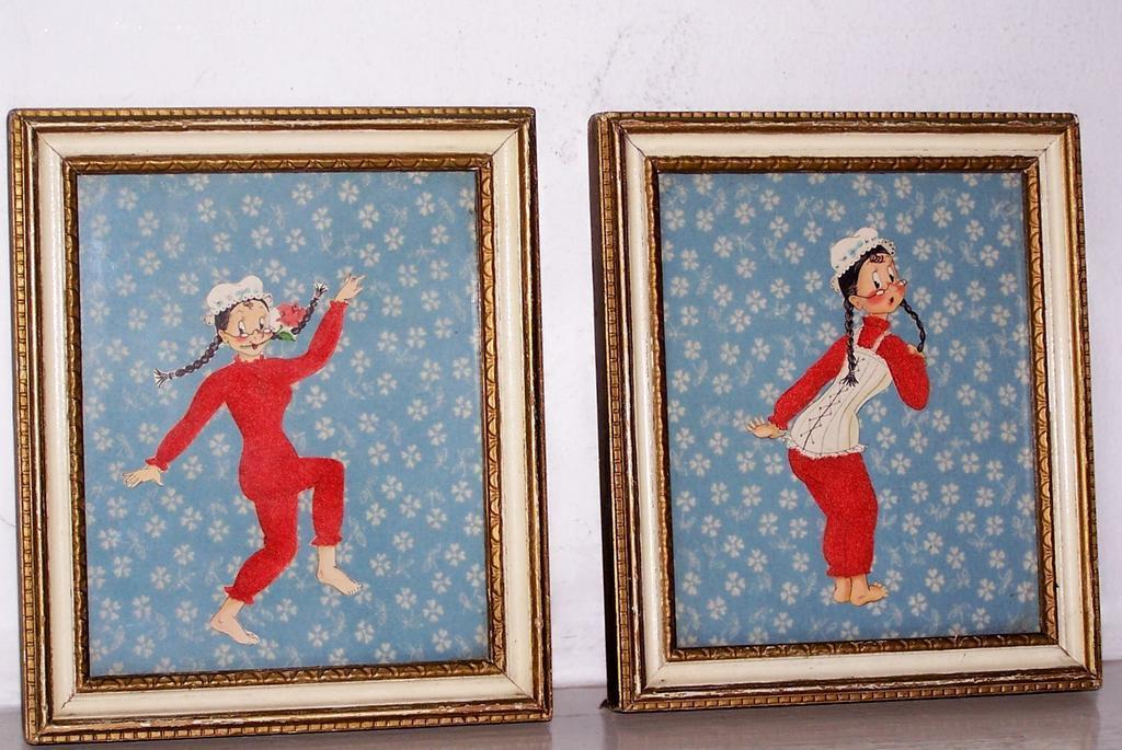 2 Framed Paper & Fabric Art